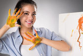 Hands in paints — Stock Photo