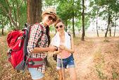 Happy backpackers  — Stock Photo