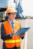 Port manager in uniform — Stock Photo