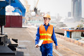 Dock worker controlling — Stock Photo