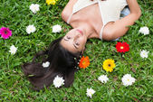 Lying on the grass — Stock Photo