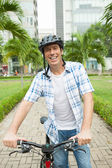 Man with bike — Stock Photo
