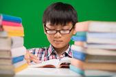 Vietnamese boy reading a book — Stock Photo