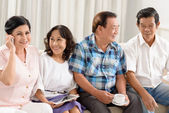 Senior friends socializing — Stock Photo