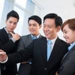 Businessman presenting new strategy — Stock Photo