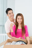 Couple holding keys from the new house — Stock Photo