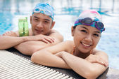 Young swimmers looking at the camera — Stock Photo