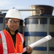 Stock Photo: Engineer oil refinery and storage tank