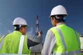 Engineer oil refinery — Stock Photo