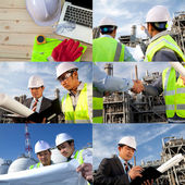Engineer oil refinery collage — Stock Photo