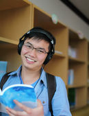 College student reading book — Stock Photo