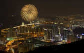 Busan skyline with fireworks — Stock Photo