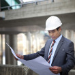 Asian architect on highway construction site — Stock Photo