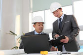 Architect working on planning — Stock Photo
