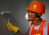 Painter worker wearing  safety work on job — Stock Photo