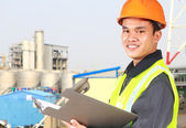 Chemical industrial  engineer wearing safety work — Stock Photo