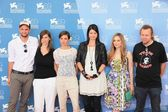 Laura De Boer, Alex Schmidt and Mina Tander pose with movie's cast for photographers at 69th Venice Film Festival on September 8, 2012 in Venice, Italy. — Stock Photo