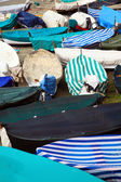 Colored boats on the beach, village of Vernazza, Italy — Stock Photo
