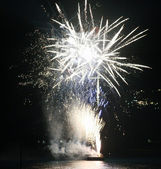 Fireworks on the water in Levanto, Italy — Stock Photo