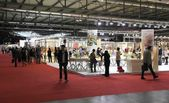 Visiting home accessories and furnishing stands at Macef — Stock Photo