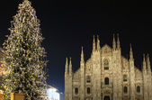 Christmas tree lights inauguration, Milano, Italy — Stock Photo