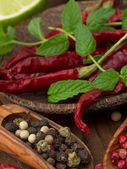 Peper spice with dried peppers — Stock Photo