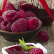 Jam of raspberries - Stock Photo