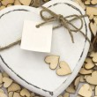 White wooden hearts - Stock Photo