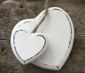White wooden hearts — Stock Photo