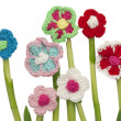 Crocheted flowers — Stock Photo