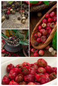 Red, white and black pepper spice — Stock Photo