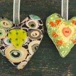 Textile hearts — Stock Photo