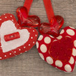 Textile red hearts — Stock Photo