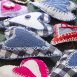 Textile hearts - Stock Photo