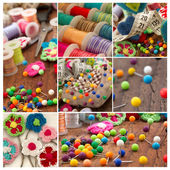 Sewing material collage — Stockfoto