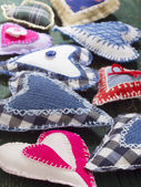 Textile hearts — Stock Photo