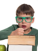 Boy hates books, sick of reading — Stock Photo