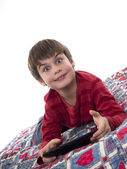 A boy playing tablet computer — Stock Photo