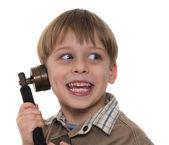 Joven llamando por teléfono antiguo, vintage — Foto de Stock