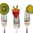 Vegetables and fruits on the forks, diet concept — Stock Photo