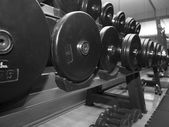Weights at the gym — Stock Photo