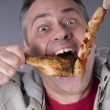 Hungry meat-eating man, no diet — Foto Stock