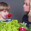Royalty-Free Stock Photo: Mother trying to feed her little son who hates eating tomato