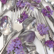 Forks and spoons with fresh flowers — Stock Photo