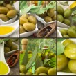 Olives with olive oil, collage — Stock Photo #24567741