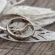 Wedding rings in the vintage arrangement — ストック写真