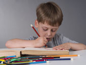 Young boy drawing — Stock Photo