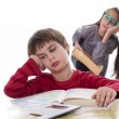 Stock Photo: Lazy pupils, books cbe very boring