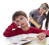Lazy pupils, books can be very boring — Stock Photo