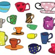 Stock Vector: Collection of cups, freehand illustration